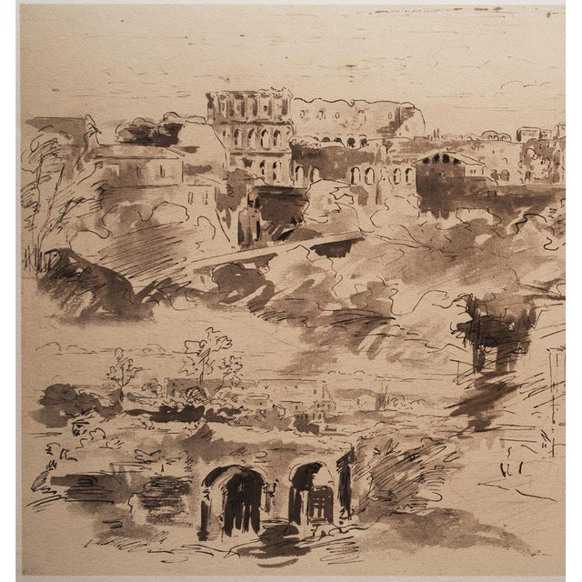 "American Classical ""The Colosseum"" by Jean-Baptiste-Camille Corot, Large Vintage Lithograph For Sale - Image 3 of 12"