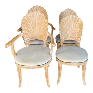 Vintage Hollywood Regency Hand Carved Grotto Chairs - Set of 4 For Sale