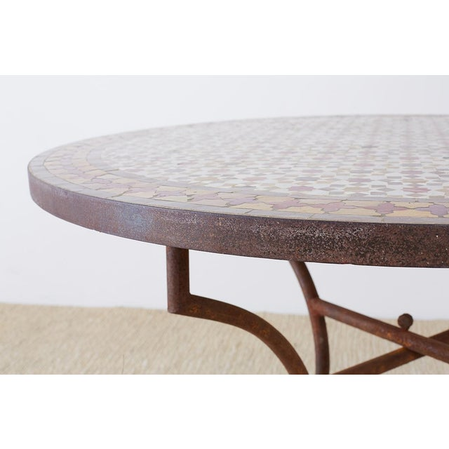 Ceramic Spanish Dining Table With Moroccan Mosaic Tile Inlay For Sale - Image 7 of 13