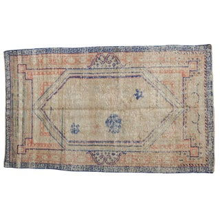 "Vintage Distressed Oushak Rug - 3'3"" X 5'3"" For Sale"
