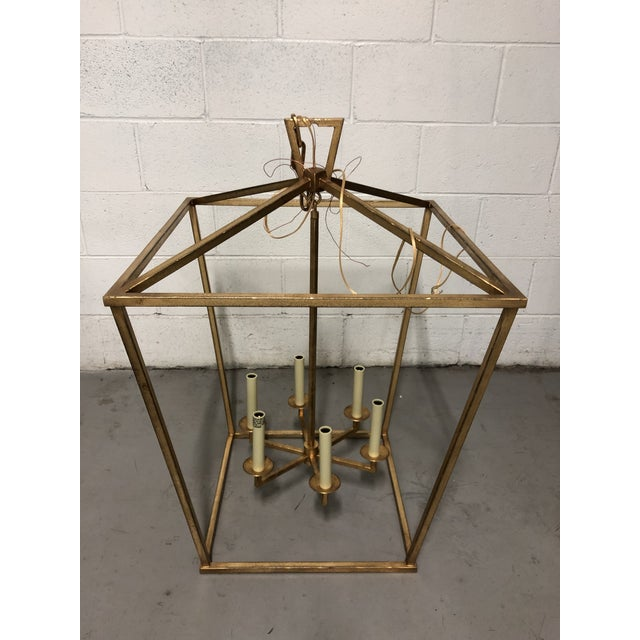 """Traditional Visual Comfort """"Darlana"""" Large Lantern in Gilded Iron For Sale - Image 3 of 5"""
