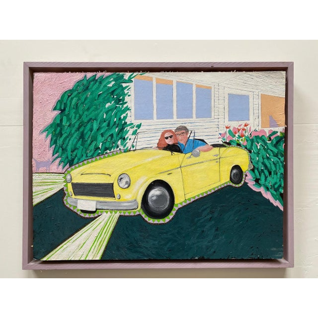 """1980s """"Cool Couple in a Yellow Drop Top"""" Postmodern Style Figurative Painting on Paper and Cardboard by Karen Kilchel, Framed For Sale - Image 12 of 12"""