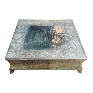 Vintage Silver Embossed Table Riser For Sale