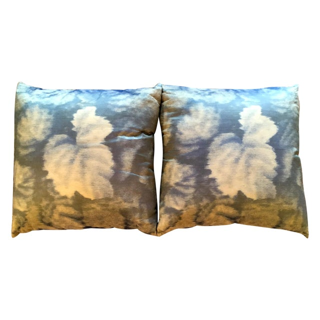 Silk Blue and Green Floral Pillow - A Pair For Sale