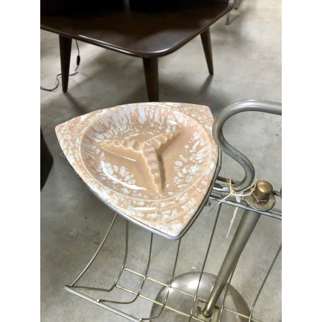 Mid-Century Modern Mid-Century Magazine Rack and Ceramic Ashtray Combination Stand For Sale - Image 3 of 8