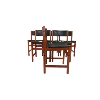Brdr A/S Leather & Teak Dining Chairs For Sale