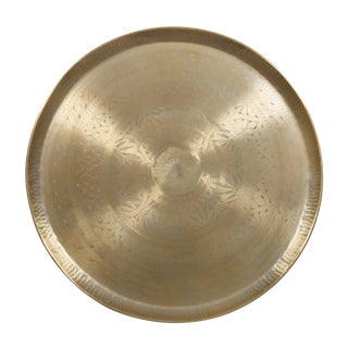 Round Gold Color and Metallic Handmade Etched Tray Made of Aluminum For Sale