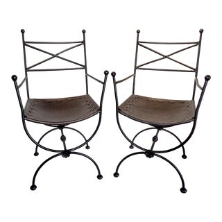 1960s Vintage Italian Iron and Leather Curule Chairs - A Pair For Sale