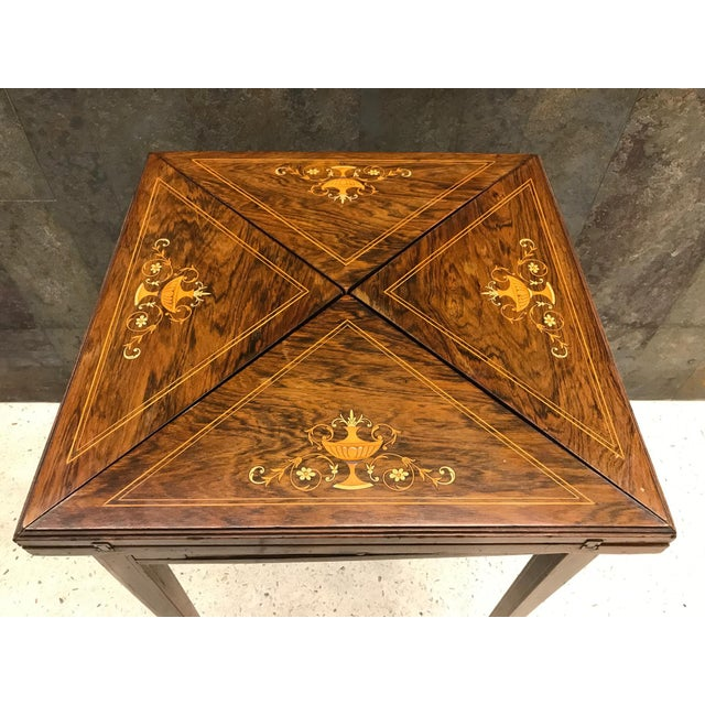 French Rosewood Inlay Handkerchief Game Table For Sale - Image 4 of 8