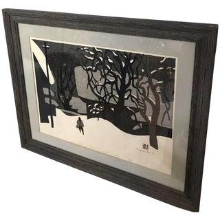 "1970s Vintage Kiyoshi Saito ""Winter in Aizu"" Japanese Woodblock Print For Sale"