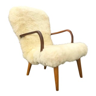 Danish Lounge Chair With Sheepskin Upholstery For Sale