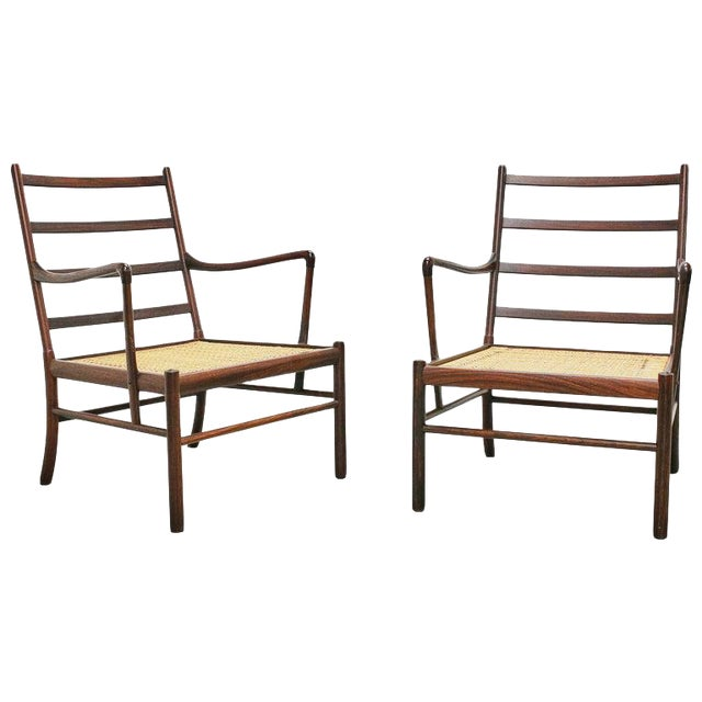 Rosewood Ole Wanscher Colonial Chairs, P. Jeppesens Møbelfabrik, Denmark, 1960s For Sale