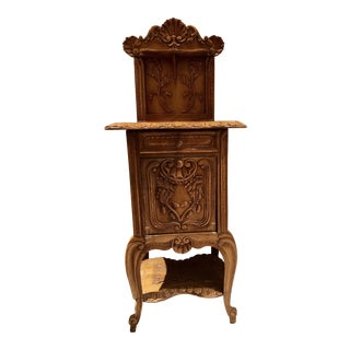 19th Century Victorian Carved Oak Tall Accent Table For Sale