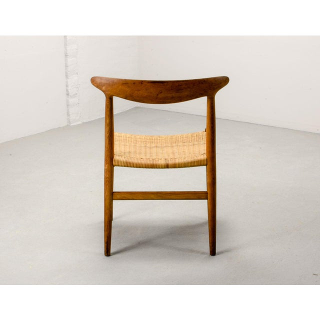 C. M. Madsens Mid-Century Oakwood and Woven Cane Side Chair W2 by Hans J. Wegner for c.m. Madsen, 1953 For Sale - Image 4 of 11