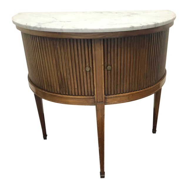 20th Century French Demi Table with Marble Top For Sale
