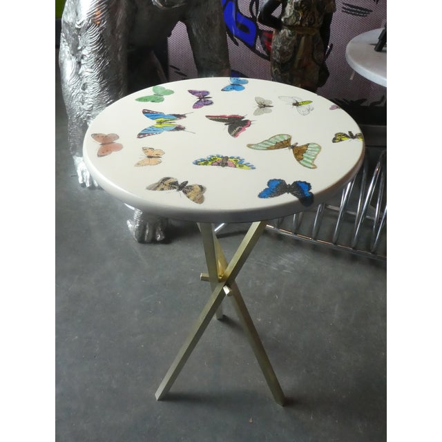 Vintage Fornasetti White Butterfly Occasional Table sold as found in vintage condition without damage showing normal signs...