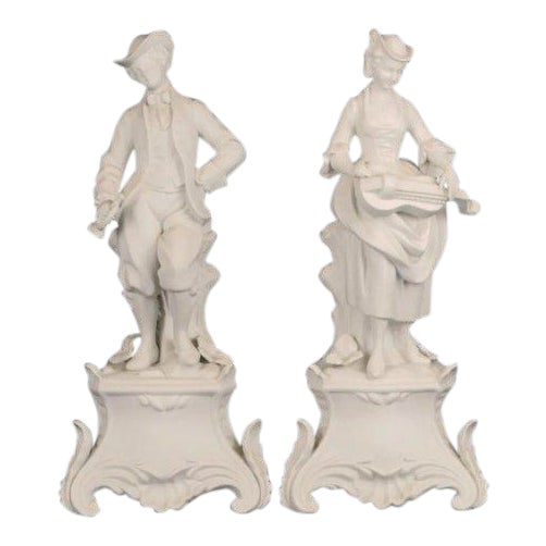 1920s Man and Woman Bisque Figures - a Pair For Sale