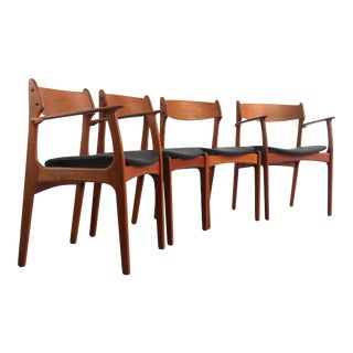 1960s Vintage Teak Dining Chairs by Erik Buch for o.d. Møbler, Denmark- Set of 4 For Sale