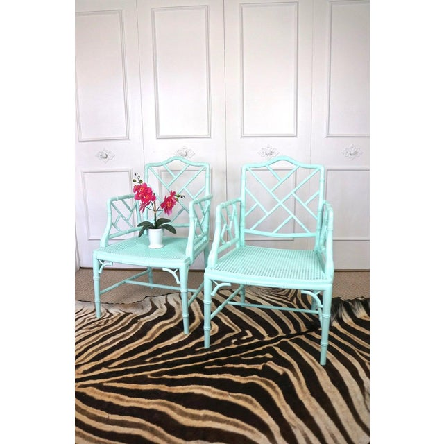 1970s Pale Turquoise Faux Bamboo Chinese Chippendale Chairs- A Pair For Sale - Image 5 of 10