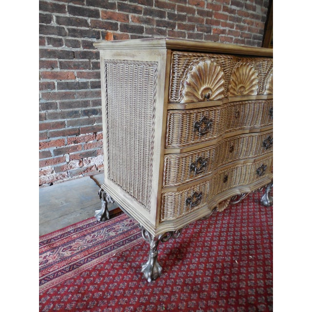 Block Front Chippendale Style Claw Footed Paint Distressed Shabby Chic Chest - Image 7 of 8