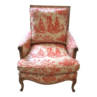 19th Century French Louis XV Style Toile Upholstered Bergere For Sale