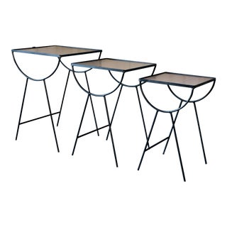 Frank & Son Wrought Iron Nesting Tables - Set of 3 For Sale
