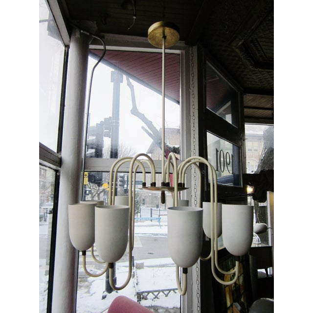 1950s Mid-Century Modern Matte White 9-Arm Curvilinear Chandelier For Sale - Image 11 of 12