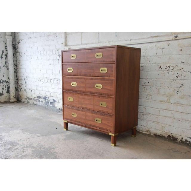 Baker Furniture Company Baker Furniture Milling Road Campaign Style Highboy Dresser For Sale - Image 4 of 10