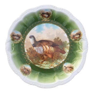 Antique Game Bird Bavaria Porcelain Wall Plate