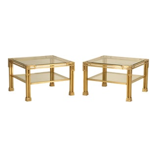 Solid Brass Coffee Tables Attributed to Valenti - a pair For Sale