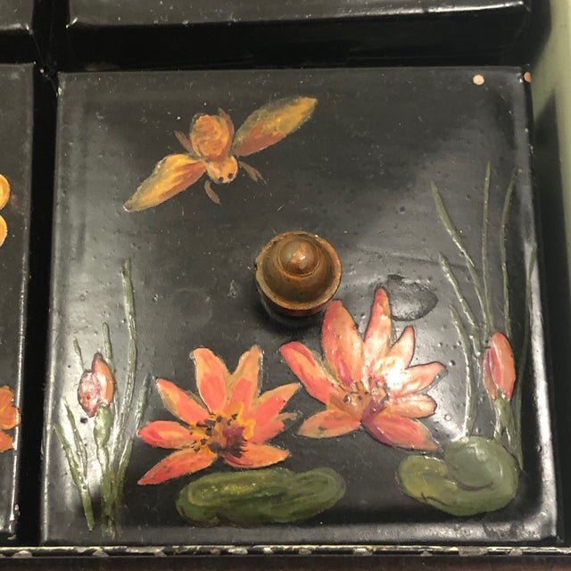 Tole Painted Asian-Themed Antique Tin Spice Box With Six Canisters - 7 Pieces For Sale - Image 10 of 13