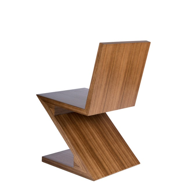 Contemporary Zig Zag Chair in Brown For Sale - Image 3 of 5