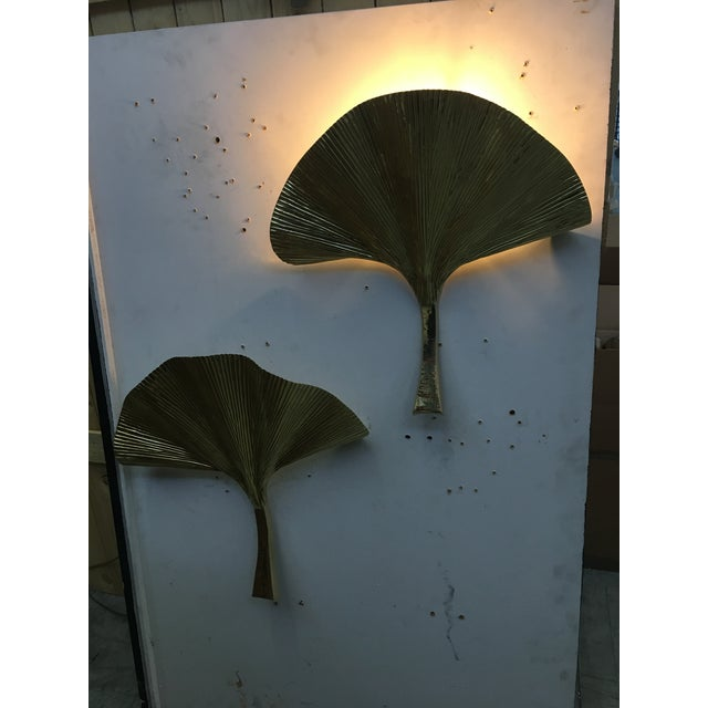 Italian Fan Leaf Motif Gold Metal Wall Sconces - a Pair For Sale - Image 3 of 12