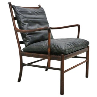 Rosewood Ole Wanscher Colonial Chair, P. Jeppesens Møbelfabrik, Denmark, 1960s For Sale