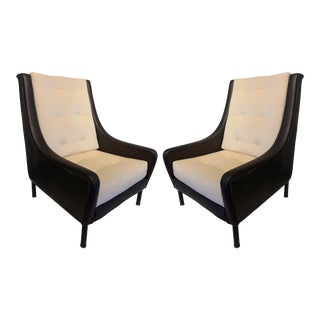 André Arbus Mid Century Club Chairs in Leather France- A Pair For Sale