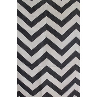 Antibes Chevron Fabric by Schumacher in Oxford Grey For Sale