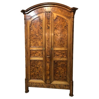 19th Century Louis XVI Style French Provincial Burled Ash Armoire For Sale