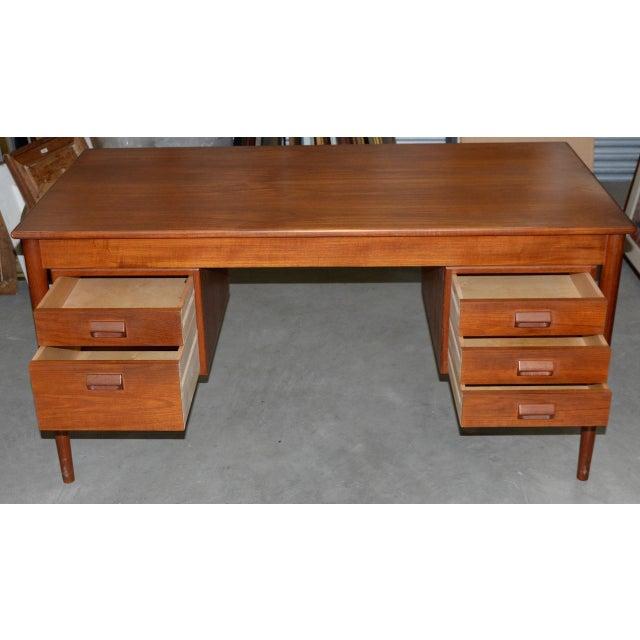 Danish Modern Vintage Danish Modern Teak Desk by Børge Mogensen for Søborg Møbler C.1960s For Sale - Image 3 of 10