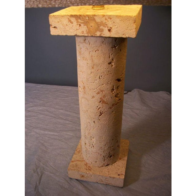 Contemporary Coquina Stone Column Table Lamp Attributed to Samuel Marx For Sale - Image 3 of 4