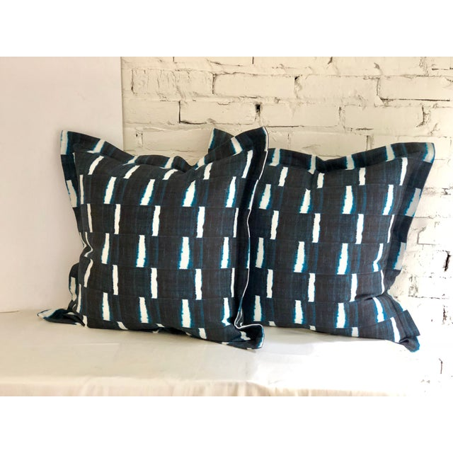 "Pair of 24"" Indigo Dyed Linen Pillows by Jim Thompson For Sale - Image 10 of 10"