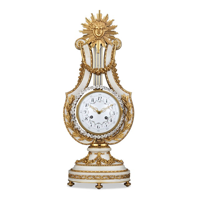 Louis XVI Marble And Ormolu French Lyre Clock For Sale - Image 3 of 3