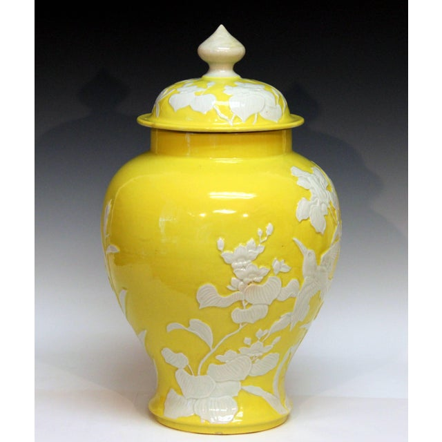 Large Antique Japanese Carved Studio Porcelain Yellow Covered Urn Vase For Sale - Image 10 of 11