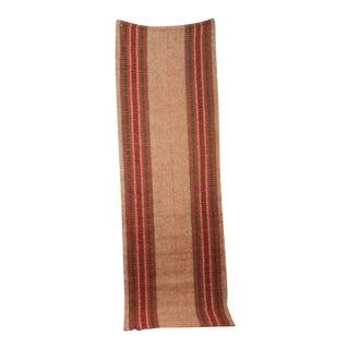 Rug Vintage European Long Stair Runner Striped Pink Hallway Carpet Antique For Sale