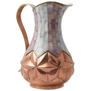 Los Castillo Taxco Hammered Brass and Silver Plate Pitcher With Abalone Inlays For Sale