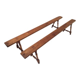 Antique French Farmhouse Benches - A Pair For Sale