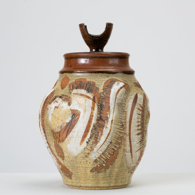 Modern California Modern Large Studio Pottery Jar With Lid by Don Jennings For Sale - Image 3 of 13