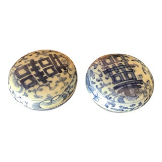 Antique Blue and White Oriental Boxes - Set of 2 For Sale