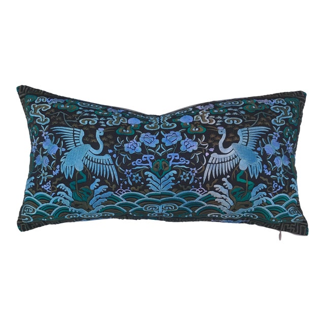 Hollywood Regency Blue & Black Asian Chinoiserie Boudoir Pillow - Image 1 of 6