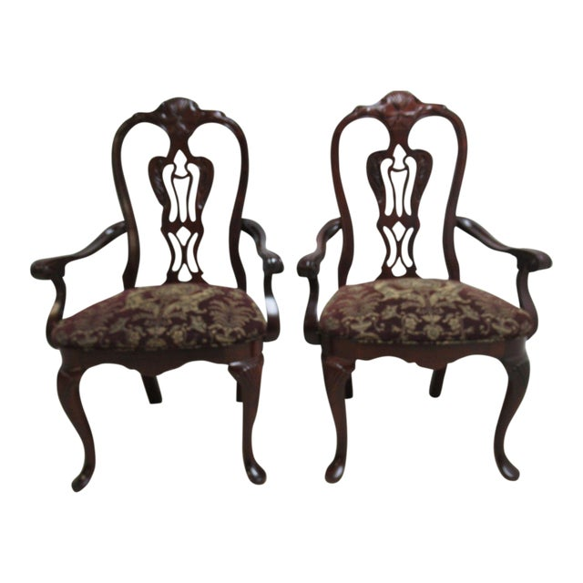 Thomasville Solid Mahogany Chippendale Arm Chairs - A Pair For Sale