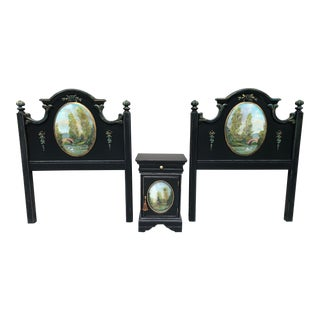 French Hand Painted Tole Twin Headboards and Matching Nightstand Set For Sale